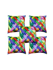 Shubh Collection Of Stripes Print Of Cushion Cover (Set Of 5) - By