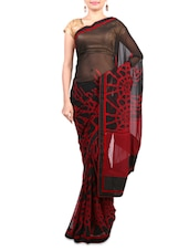 Black And Red Georgette Printed Sari - By