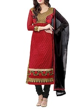 Red Unstitched Embroidered Suit Set - By