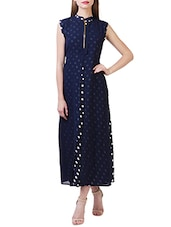 navy blue polka dots printed georgette dress -  online shopping for Dresses