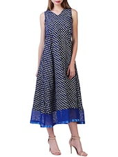 navy blue polka dots printed crepe dress -  online shopping for Dresses