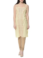 cream cotton straight kurta -  online shopping for kurtas