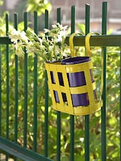 Yellow Basket With 2 Blue Planters - By