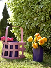 Pink Basket With 4 Purple Planters - By
