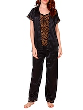 black animal printed satin pyjama set -  online shopping for nightwear sets