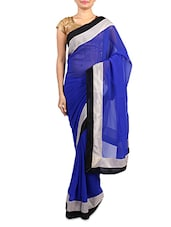Royal Blue Georgette Saree With Contrast Border - By