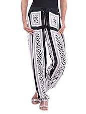 Black And White Printed Rayon Trousers - By