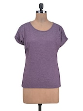Purple  Viscose Knitted Oversized Top - By