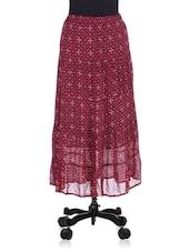 Maroon Printed Georgette Flared Skirt - By