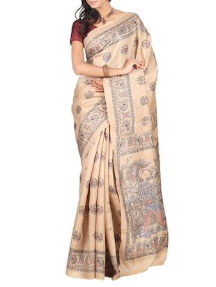 beige raw silk saree -  online shopping for Sarees