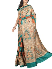multi raw silk saree -  online shopping for Sarees