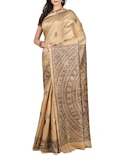 Beige tussar silk saree -  online shopping for Sarees