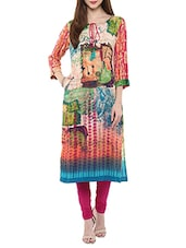 Multicolored rayon long kurta -  online shopping for kurtas