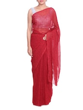 Red Paisley Printed Bandhej Georgette Saree - By