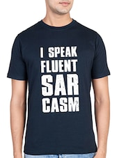 navy blue cotton slogan tees tshirt -  online shopping for T-Shirts