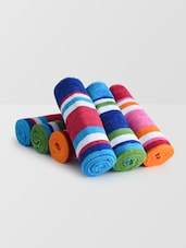 Set Of 6 Multicolored Striped Cotton Kids Towels - By