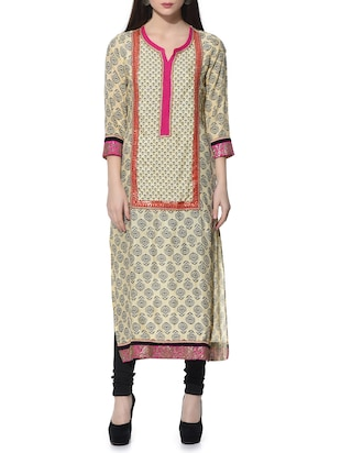 beige color  rayon straight kurti -  online shopping for kurtis