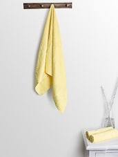 Yellow Cotton Plain Ladies Bath Towels And Hand Towels - By