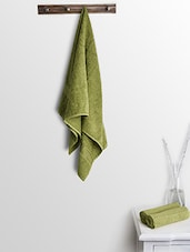 Green Cotton Plain Ladies Bath Towels And Hand Towels - By