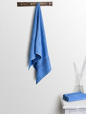 Blue Cotton Plain Ladies Bath Towels And Hand Towels - By