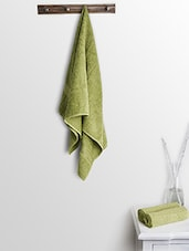 Green Cotton Plain Bath Towels And Hand Towels - By