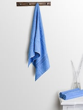 Blue Cotton Plain Bath Towels And Hand Towels - By