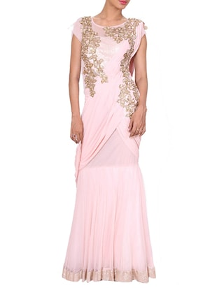 Pink embroidered evening gown -  online shopping for Sarees