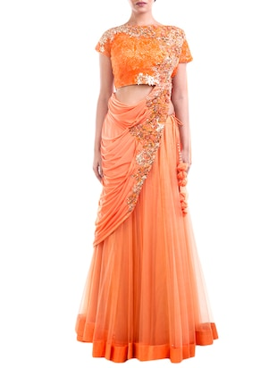 orange georgette draped lehenga gown -  online shopping for Sarees