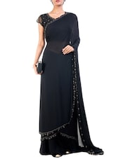 Black embroidered and embellished saree -  online shopping for Sarees