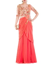 Peach georgette draped saree gown -  online shopping for Sarees