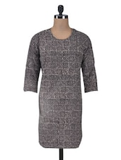 Grey And Black Printed Cotton Kurti - By
