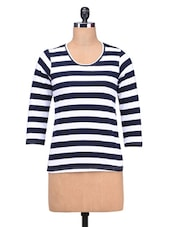 White And Navy Blue Striped Viscose Knit T-Shirt - By