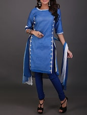 Blue embroidered stitched suit set -  online shopping for Stitched Suits