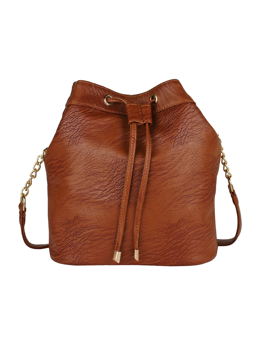 Buy Brown Leatherette Sling Bag by Lychee Bags - Online shopping ...