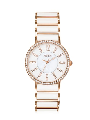 Aspen Ladies White Color Dial With Mother of Pearl Ceramic Collection Watch For Formal Use -  online shopping for Analog Watches