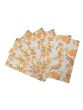 Dekor World Floral Orange Cotton Printed Place Mat (Pack Of 6) - By