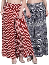 set of 2 multicolored crepe palazzo -  online shopping for Palazzos