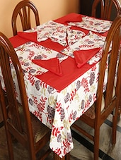 Dekor World Floral  Printed Red Table Cover With Place Mat & Napkin (Pack Of 25) - By