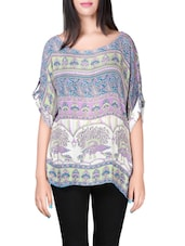 multicolored printed crepe kaftan -  online shopping for Kaftans