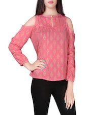 pink printed crepe top -  online shopping for Tops