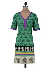 Green Printed Cotton Summer Kurta - By