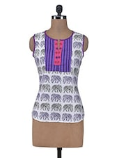 White Printed Cotton Summer Kurta - By