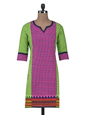 Pink Printed Cotton Summer Kurta - By
