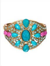 Blue  Metallic Embellished Bracelet - By