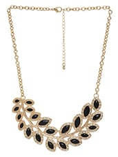Black Metallic Embellished Necklace - By