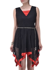 Black And Red Polyester Dress - By