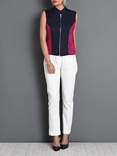 Navy Blue Cotton Embroidered Short Jacket - By