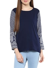 navy blue printed crepe regular top -  online shopping for Tops