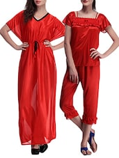 set of 2 multicolored satin nightwear sets -  online shopping for nightwear sets