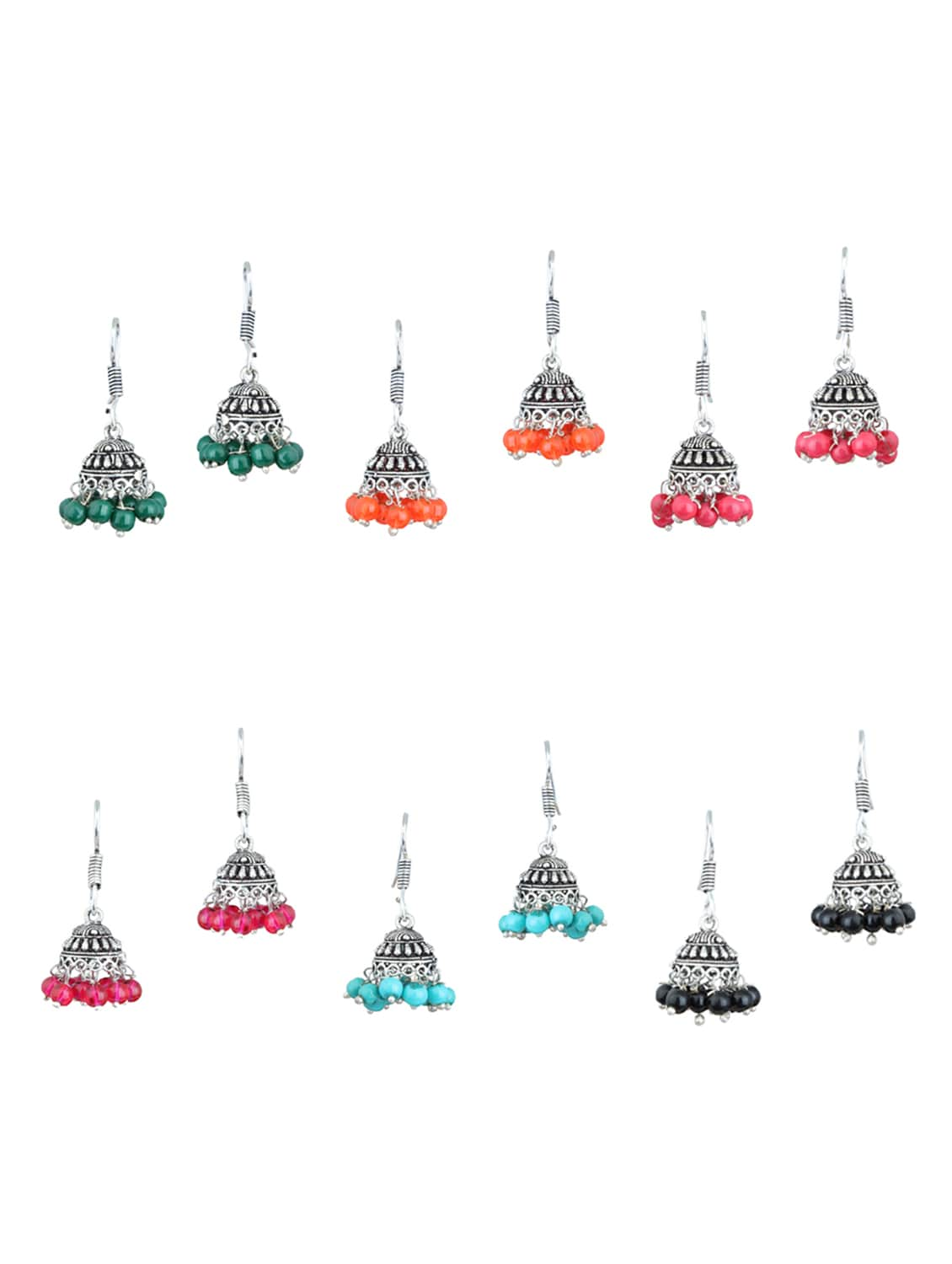 multi silver plated drop earring tn10